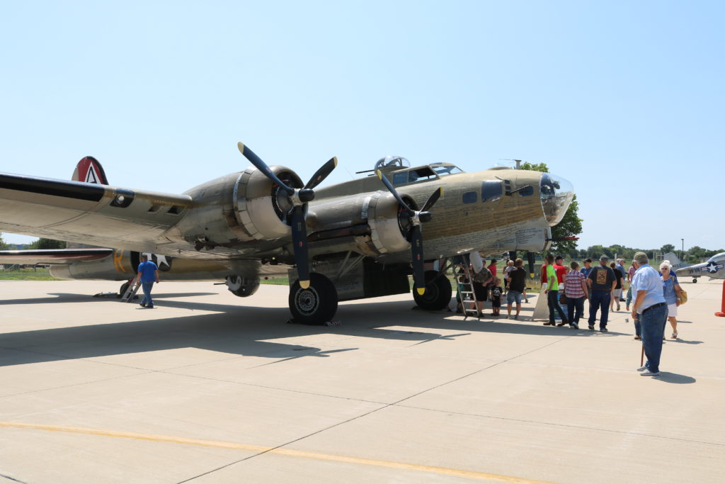B-17 Flying Fortress sits at Waterloo Regional Airport as part of the Wings of Freedom Tour
