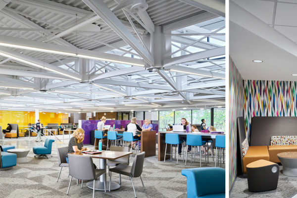The new commons areas in the Schindler Education Building at the University of Northern Iowa in Cedar Falls.